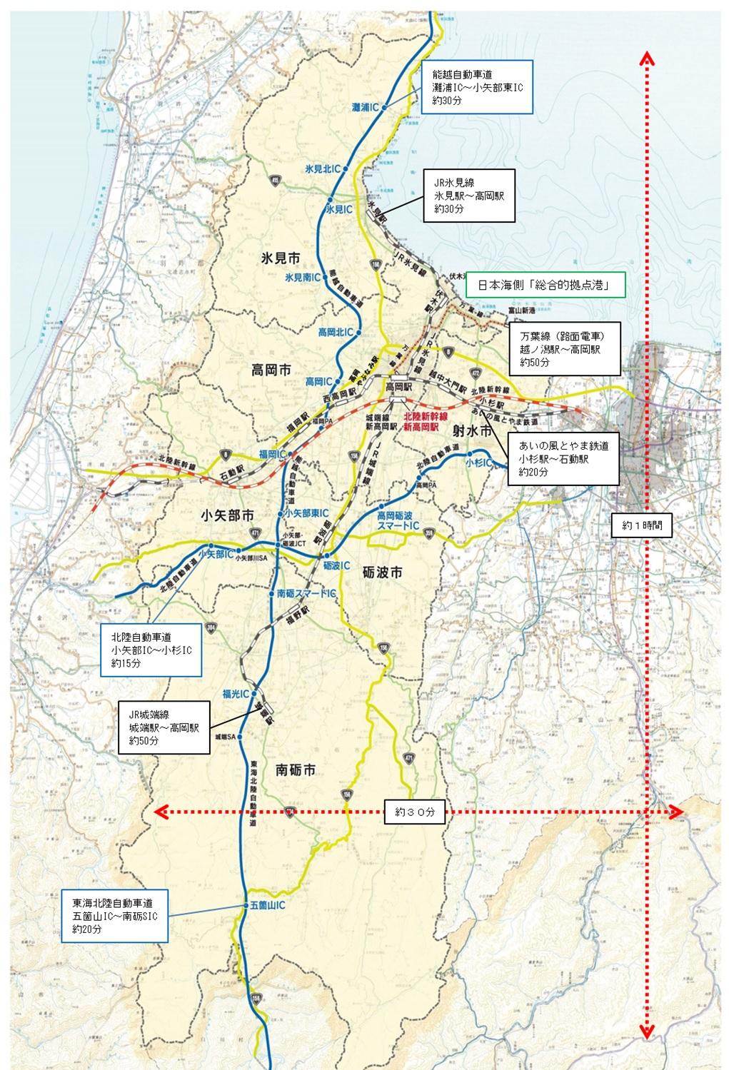 圏域の道路・鉄軌道等ネットワークの状況